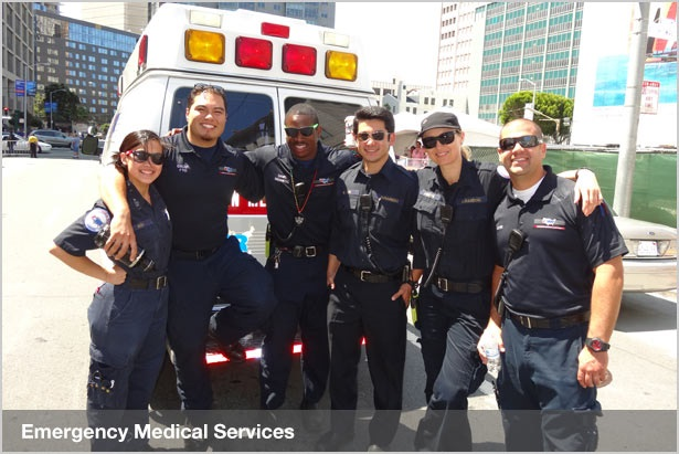 Group of Medical Workers in front of the Ambulance Car